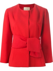Erika Cavallini Semi Couture Fitted Belted Jacket Red