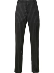 Alexander Mcqueen Pinstriped Straight Leg Trousers Black