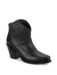 Alice Olivia Kaira Textured Leather Ankle Boots Black