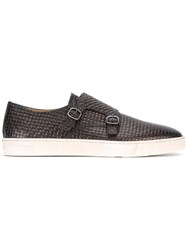 Santoni Woven Monk Shoe Sneakers Men Leather Rubber 41 Brown