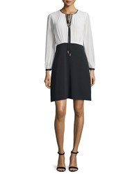Erin Fetherston Long Sleeve Flared Combo Cocktail Dress Black Ivory