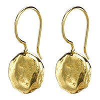 Dower And Hall 18Ct Gold Vermeil Irregular Disc Wire Drop Earrings