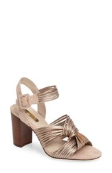 Louise Et Cie Women's Kamden Knotted Block Heel Sandal Rose Gold Faux Leather