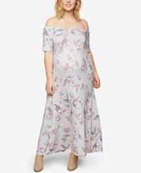 Motherhood Maternity Printed Off The Shoulder Maxi Dress Grey Floral