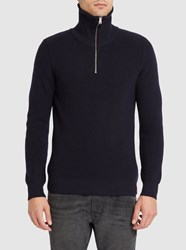 Knowledge Cotton Apparel Navy Rib Stitch Zip Neck Sweater Blue