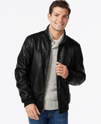 Tommy Hilfiger Faux Leather Bomber Jacket Black