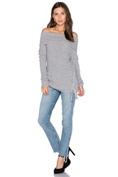 Roi Rib Off Shoulder Sweater Gray