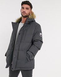 Threadbare Quilted Parka With Faux Fur Lined Hood In Grey