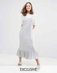 Monki Exclusive Ruffle Hem Midi Dress Grey