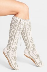 Women's Lemon 'Winter Flurries' Slipper Socks Ivory Vanilla Cream