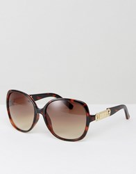 Carvela Oversized Sunglasses With Gold Detailing Brown