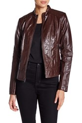 Guess Faux Leather Jacket Brown