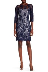 Marina Lace And Sequin Two Piece Dress Blue