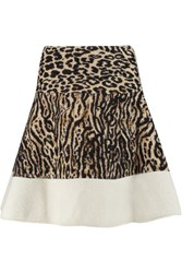 Giambattista Valli Leopard Print Knitted Mini Skirt Animal Print
