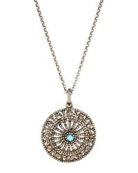 Bavna Champagne Diamond And Turquoise Round Pendant Nk