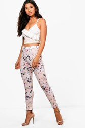 Aimee Pastel Floral Skinny Stretch Trousers
