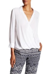 Velvet By Graham And Spencer Challis Surplice Wrap Blouse White