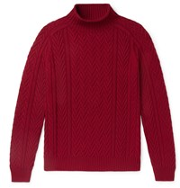 Loro Piana Slim Fit Cable Knit Baby Cashmere Mock Neck Sweater Red
