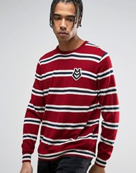 Love Moschino Striped Jumper With Chest Print Red