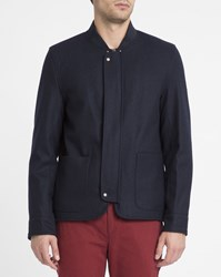 Knowledge Cotton Apparel Navy Patch Pockets Concealed Placket Wool Zipped Jacket Blue