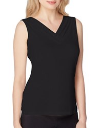 Tahari By Arthur S. Levine Petite Shirred V Neck Sleeveless Top Black