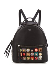 Fendi Embellished Mini Leather Backpack Black Multi