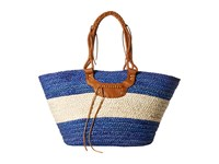 San Diego Hat Company Bsb1561 Color Block Tote Bag With Faux Leather Handles And Metal Snap Closure Blue Natural Tote Handbags