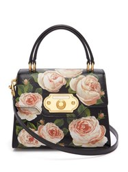 Dolce And Gabbana Welcome Rose Printed Grained Leather Bag Black Multi