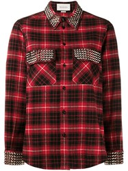 Gucci Studded Plaid Shirt Red