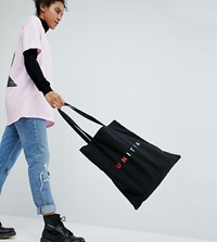 Asos Design X Glaadand Tote Bag With Unity Embroidery In Black