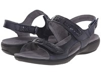 Trotters Kip Navy Vegetable Calf Leather Women's Sandals Black