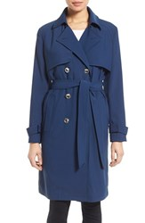 Women's Laundry By Shelli Segal Belted Crepe Long Trench Coat Indigo