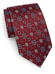 Burma Bibas Medallion Silk Tie Red Multi