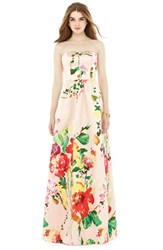 Women's Alfred Sung Watercolor Floral Strapless Sateen A Line Gown