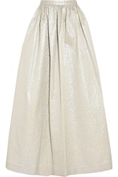 Alice Olivia Tina Metallic Taffeta Maxi Skirt White