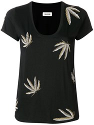 Zadig And Voltaire Beaded Leaf T Shirt Black