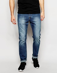 Asos Slim Jeans In Vintage Wash Midblue