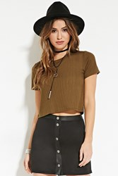 Forever 21 Ribbed Knit Crop Top Olive