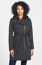 Petite Women's Vince Camuto Water Resistant Trench Coat With Removable Hood Black