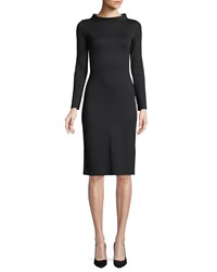 Emporio Armani High Collar Long Sleeve Jersey Sheath Dress Black