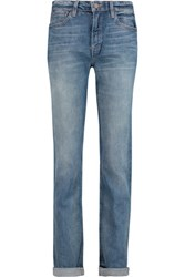 Marc By Marc Jacobs Drainpipe High Rise Straight Leg Jeans Mid Denim
