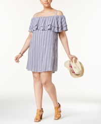 Almost Famous Trendy Plus Size Off The Shoulder Ruffle Dress White Navy