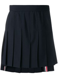 Thom Browne Dropped Back Mini Pleated Skirt In School Uniform Plain Blue