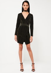 Missguided Black Velvet Beaded Plunge Neck Dress