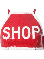 Moschino Shop Crop Top Red