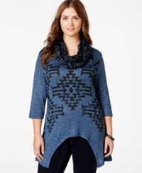 Extra Touch Plus Size Aztec Print Scarf Tunic Ice Navy