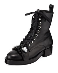 N 21 Calf Leather Lace Up Combat Boots Black