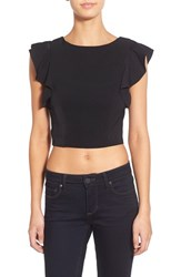 Women's Kendall Kylie Flutter Sleeve Crop Top Black