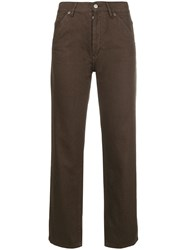 Jacquemus Cropped Straight Leg Trousers Brown