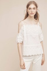 Anthropologie Amabel Open Shoulder Blouse White
